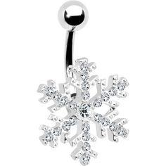 Crystalline Gem Snowflake Belly Ring