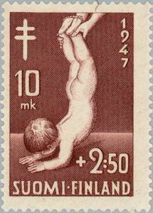 .Finland Sept 15, 1947 Scott# B84 10m+2.50m Medical examination of Infants. One of a set of five, Baby held by the feet.