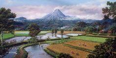 Pemandangan di kaki Merapi, 2006 Acrylik on canvas 100x200 Cm By: Jaka Espe
