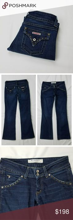 """HUDSON Rare Studded Pockets Dark Blue Jeans Rare dark blue jeans by Hudson Jeans. Features metal studded front and back pockets with distressed style edges. Functional front and back pockets. Back pockets are signature flap button pockets. Double button and single zipper front closure.   Excellent condition. Inside brand tag coming loose as seen in photo.   Size 28.  Measures approximately:  Waist - 16"""" flat across Inseam - 31"""" L Front rise - 8"""" L Leg opening - 9"""" flat across   Cut # H985995…"""