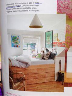 Platform bed with base made from Ikea Ivar drawers. Ivar Regal, Low Loft Beds, Diy Platform Bed, Bed Storage, Cool Rooms, Kid Beds, Dream Bedroom, Girl Room, Living Spaces