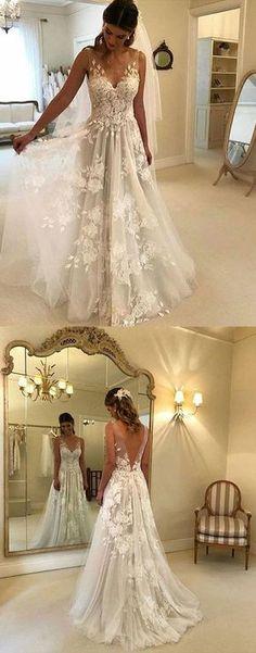 White Prom Dress,V-Neck Prom Dress,Lace Prom Dress, Tulle Wedding Dress,Charming Prom Dress