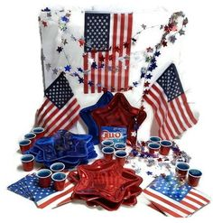 "Amazon.com : Super Fourth of July Party Pack Bundle - 7 Items: Two Sets (10ea.) Red and Blue Star Plates, One Set (20) Flag Napkins, One Set (20) Tiny ""Red Solo Cups"", One Lg Box Berry Blue Jello, One 25ft. Star Garland, One Set (3) Small American Flags : Grocery & Gourmet Food"
