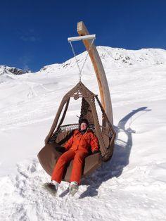 Swing chair in ski resort Serfaus, Austria. Swinging Chair, Rocking Chair, Rock Bed, Swing Chairs, Lounge Furniture, Sofa Chair, Nice View, Austria, Skiing