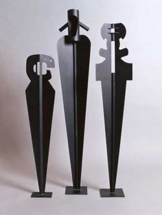 Steel Modern Abstract Contemporary Avant Garde Sculptures or Statues or statuettes or statuary sculpture by artist Todor Todorov titled: 'Three Totems (steel Tall Contemporary abstract figurative Yard statues)'