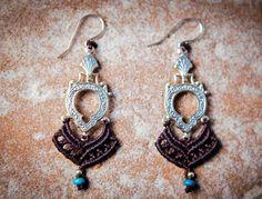 30% Off - tribal earrings Sale Brown Tribal earrings Macrame earrings Macrame Jewelry, macrame earrings, Turquoise stone red gold Boho ea...