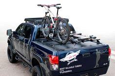 Bike rack with tonneau cover? Toyota Trucks, Ford Trucks, Lifted Trucks, Truck Bed Bike Rack, Bike Racks For Trucks, Indian Scout Bike, Toyota Tundra Accessories, Pickup Camping, Montain Bike