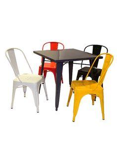 Juego completo de mesa modelo Tolix de 0.80 x 0.80 mts, color a elección + 4 sillas modelo Tolix