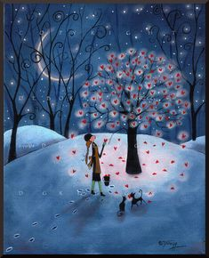 Take As Much As You Need a Valentines Love Hearts Winter Moon PRINT by Deborah Gregg on Etsy, $16.50