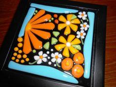 Jewelry Box with Handmade Fused Glass Flower Panel by SunshineArtGlass. $45.