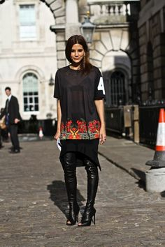 la modella mafia Christine Centenra 2012 fashion editor chic model street style - Spring 2013 Fashion Week in a Givenchy top and skirt, Tom Ford boots