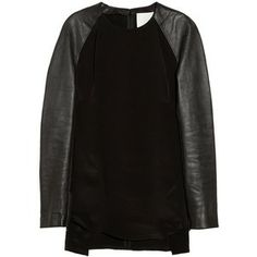 3.1 Phillip Lim Leather-sleeved silk top