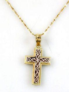 Yellow Gold Chain w Cross Pendant - Sterling Silver Cross Pendant, Cross Jewelry, Crosses, Bling, Chain, Yellow, Gold, Beautiful, Jewel