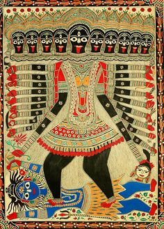 The cosmic form of the Hindu goddess Kali Mahakali, with her symbolic attributes of a necklace of skulls, weapons and blood trophies.