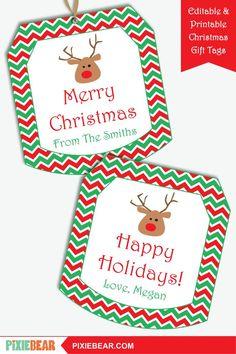 Christmas Gift Tags - Printable Tags for Kids, Personalized Christmas Labels, Christmas Teacher Tags, Editable Holiday Tags Template Christmas Tag Templates, Christmas Gift Tags Printable, Christmas Labels, Printable Tags, Printable Invitations, Christmas Printables, Party Printables, Christmas Fun, Reindeer Christmas