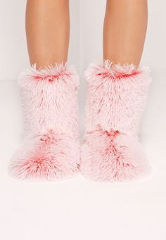 Show your love for all things cute and fluffy in these pink slipper boots!