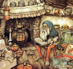 Artwork by Anton Piek Dutch painter, artist and graphic artist. Trolls, Anton Pieck, Walter Crane, Dutch Painters, Dutch Artists, Children's Book Illustration, Fantasy Art, Fairy Tales, Sketches