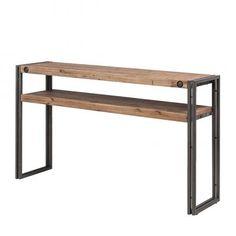 table console en métal et bois recyclé noire l 119 cm | appart ... - Console Meuble Pas Cher Design