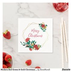 Modern Red Green & Gold Christmas Floral Napkins Gold Christmas, Merry Christmas, Green And Gold, Red Green, Ecru Color, Paper Napkins, Keep It Cleaner, Holiday Cards, Party Supplies