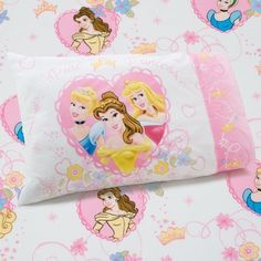 Disney Princess Castle Dreams can come true with this toddler sheet set. Fun and fanciful colors of pink, dark pink, white, yellow and blue. The toddler Princess Room Decor, Disney Princess Toddler, Disney Princess Castle, Girl Nursery Bedding, Girls Bedding Sets, Girls Bedroom, Bedrooms, Bedroom Stuff, Bedroom Ideas