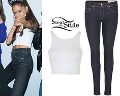 met fans yesterday at her The Honeymoon Tour meet & greet in Detroit wearing a Topshop Cross-Back Halter Crop Top ($20.00) and her Rag & Bone Justine High Rise Legging Jeans ($187.00).