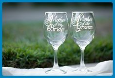 Mother of the Bride Wine Glass and Mother of the Groom Wine Glass with Wedding Date, Hand Engraved Set of 2, More Glass Options Available, Choose from Wine, Pilsner, Pint or Whisky Glasses - Bridesmaid gifts (*Amazon Partner-Link)