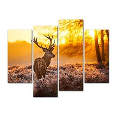 Canvas Print Wall Art Painting For Home DecorDeer In Autumn Forest In Sunset Animal Wildlife 4 Piece Panel Paintings Modern Giclee Stretched And Framed Artwork The Picture For Living Room DecorationAnimal Pictures Photo Prints On Canvas >>> Visit the image link more details.