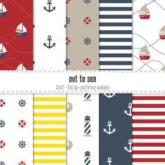 Out to Sea  Nautical Paper Pack INSTANT DOWNLOAD by LemonyMonday, $3.00