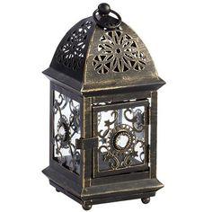 Black Mini Metal Jeweled Lantern