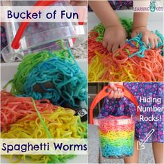 A Bucket filled with coloured spaghetti worms with hidden number rocks is a motivating learning experience for kids to explore numbers and their senses. Toddler Learning Activities, Play Based Learning, Sensory Activities, Infant Activities, Teaching Kids, Baby Sensory, Sensory Bins, Sensory Play, Kids