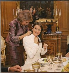 Queen Sofía of Spain w/ Letizia Ortiz, (now Queen of Spain), at the engagement lunch for Letizia & Prince Felipe