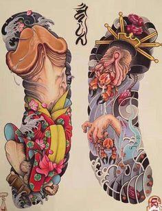 Amazing oriental art Japanese Tattoo Art, Japanese Tattoo Designs, Japanese Art, Korea Tattoo, Mangas Tattoo, Traditional Tattoo Art, Japan Tattoo, Oriental Tattoo, Irezumi Tattoos
