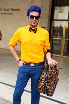 Men really have to work to standout at Fashion Week. See more here, http://www.fashables.com/new-york-fashion-week-street-style. #fashion #fashionweek #streetstyle
