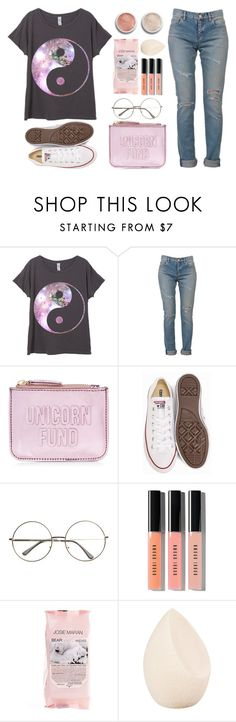 """""""Unicorn fund"""" by samantha-1221 ❤ liked on Polyvore featuring Yves Saint Laurent, New Look, Converse, Bobbi Brown Cosmetics, Josie Maran, Christian Dior and Terre Mère"""