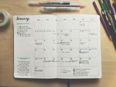 It's 11 days into the New Year, and this is my very first post for it. I spent my extensive Christmas holiday researching planners, notebooks and discovering the bullet journal system:. Bullet Journal Printables, Bullet Journal Layout, Bullet Journal Inspiration, Journal Ideas, Bullet Journals, College Problems, Bujo, Organization Bullet Journal, Bullet Journal Monthly Spread