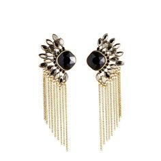 Gold fan chain fringe drop earring with hematite & jet detial and post back.