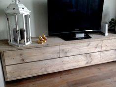 Zwevend tv meubel kast steigerhout laag lang