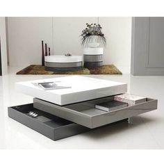 Table basse carr�e 3 plateaux pivotants laqu� - L90xl90xH30cm COOL