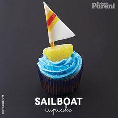 Cupcake decorating ideas: Sailboat - Today's Parent Sea Turtle Cupcakes, Nautical Cupcake, Kid Cupcakes, Birthday Cupcakes, 1st Birthday Parties, Cupcake Cakes, Cupcake Ideas, Cup Cakes, Cupcakes
