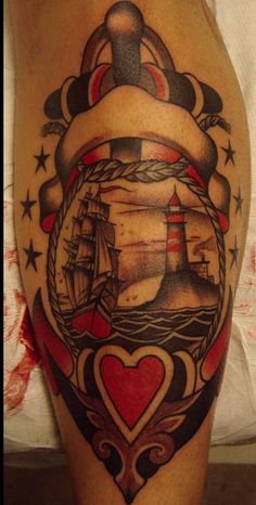 tattoo old school / traditional nautic ink - ship and lighthouse in anchor