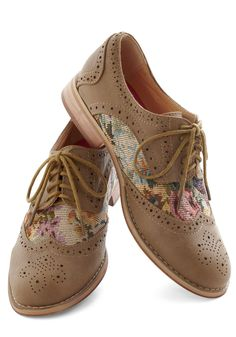 Tapestry Dancer Shoe - Grey, Multi, Floral, Cutout, Menswear Inspired, Low, Faux Leather