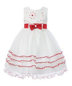Love this Red & White Flower Tiered A-Line Dress - Toddler & Girls on #zulily! #zulilyfinds