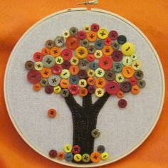 Lovely button tree hoop art on craftster.
