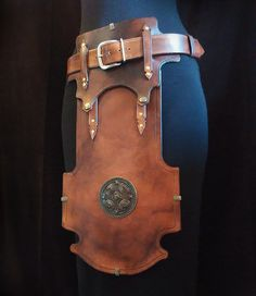 Force brown leather belt. Armor medieval larp. by YvoluspaCraft