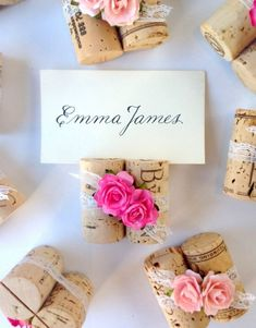 Wine Cork Place Card Holders go vintage pretty! Shown with white lace & Ombre Pink handmade rosettes, by Kara's Vineyard Wedding