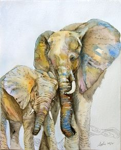 OOAK 8x10 Original Watercolor Elephant art- Nursery art-Children art