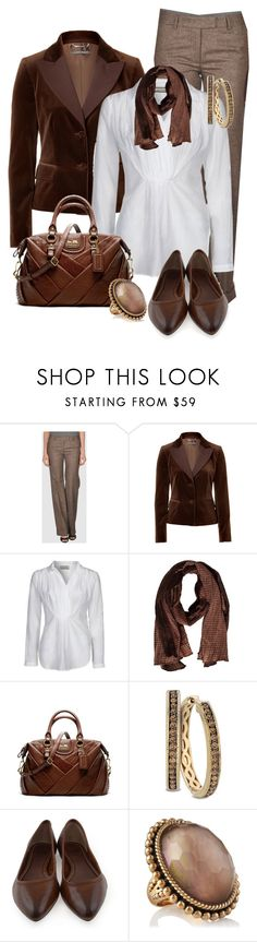 """""""Brown Scarf"""" by my-pretend-closet ❤ liked on Polyvore featuring Alberto Biani, Alberta Ferretti, By Malene Birger, Replay, Coach, LE VIAN, Frye and Stephen Dweck"""