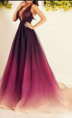 Ombre Chiffon Prom Dress,Long Prom Dress,V-neck Prom Dress,A-line Prom Dresses,Plus Size Prom Dress,Pretty Prom Gown,Legant Evening Dress