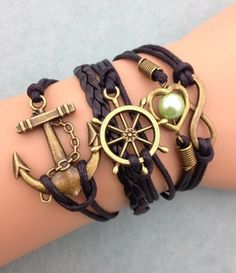 Fashion jewelry promotion store,Supply all kinds of cheap fashion jewelry Boat Wheel & Anchor with Infinity & Pearl in Heart Fashion Bracelet - Boat Wheel & Anchor with Infinity & Pearl in Heart Fashion Bracelet Leather Charm Bracelets, Love Bracelets, Handmade Bracelets, Fashion Bracelets, Bangle Bracelets, Friendship Bracelets, Heart Bracelet, Infinity Bracelets, Sister Bracelet
