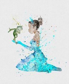 Tiana kissing frog naveen watercolor